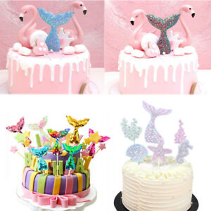 Sequins-Mermaid-Tail-Theme-Party-Cupcake-Decor-Cake-Toppers-Birthday-Supplies