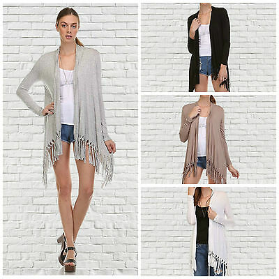 Casual Juniors Long Sleeve Rayon Heart&Hips Fringe Solid Cardigan