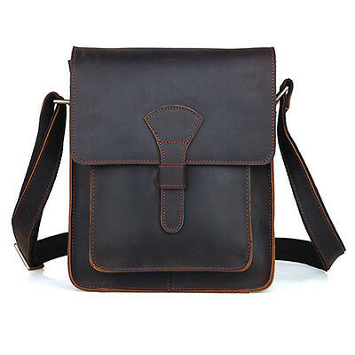 Men's Rustic Genuine Leather Messenger Shoulder Bag Small Cross Body Satchel New
