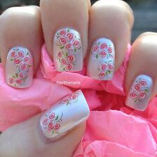 UNGHIE Wraps Nail Art Water Trasferimenti Adesivi Rosa Boccioli di Rose naturali/false y76#