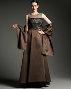 Kay Unger Brown Satin  Gown Size 6