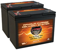 Qty2 Vmax Mb96 Pride Jet 5 12v 60ah 22nf Agm Sla Battery Replaces Upg 55ah