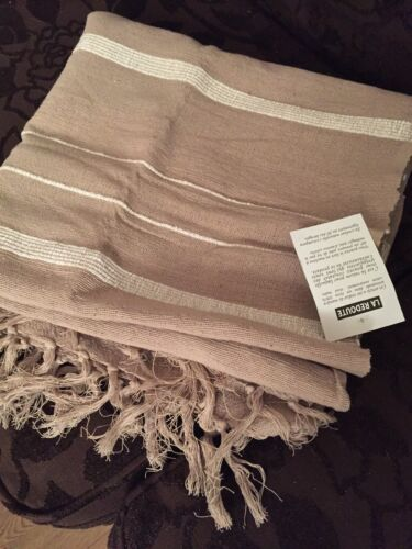 La Redoute Taupe Brown Hand Woven 100/% Cotton Throw 150cm X 150cm