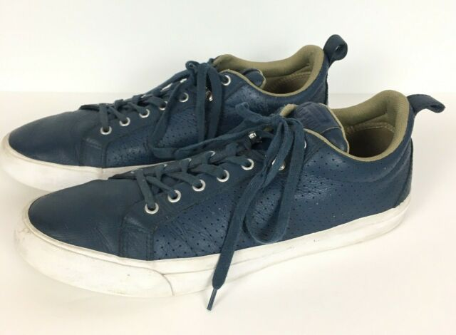 vulgar Cambiable Error  Converse All Star Blue Leather Sneakers Shoes Low Top Men's 13 Women 14.5  for sale online