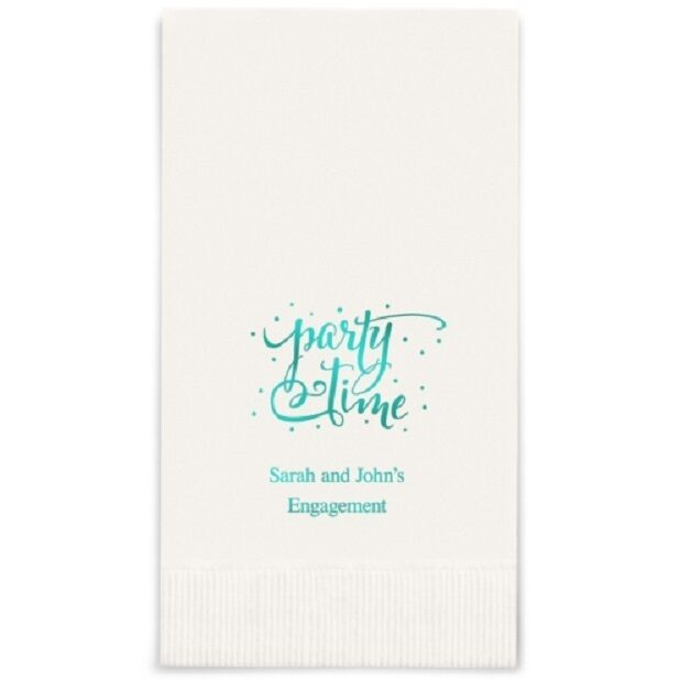 400 Party Time Printed Rectangular Fold Wedding Dinner Napkins