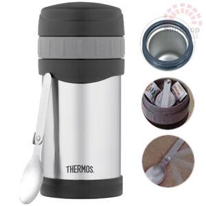 2b870648c098 Details about THERMOS Wide Mouth 16oz 470ml Vacuum Insulated Food Jar with  Folding Spoon!