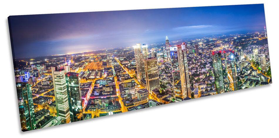 Frankfurt Germany Skyline Cityscape CANVAS WALL ART Panoramic Framed Print