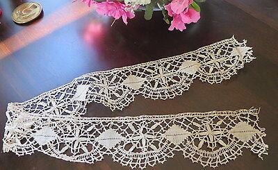 Vtg Antique Handmade French Cluny Bobbin Lace Trim Victorian Edwardian