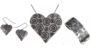 Cuff Bangle Necklace St Justin Pewter Swirls Heart Pendant Drop Earrings