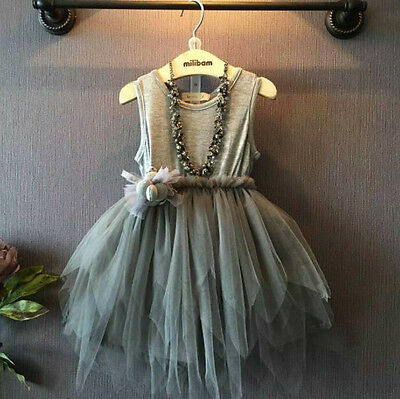 Fashion Girls Clothes Kids Vintage Gray Sleeveless Tulle Skirt Kids Party Dress