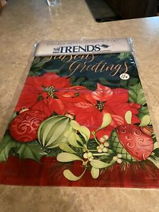 "Evergreen Garden Flag Season's Greetings Holiday Candy Canes Wreath 12.5"" x 17"""