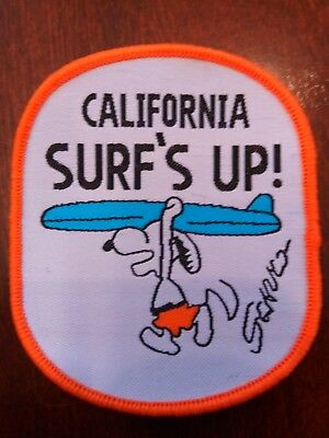 """SNOOPY CALIFORNIA SURF/'S UP Sew on patch  3/"""" X 2.5/"""""""