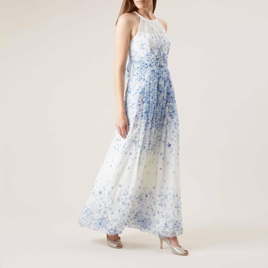 BNWT HOBBS Maxi White bluee Floral Alexis dress sz 10 UK