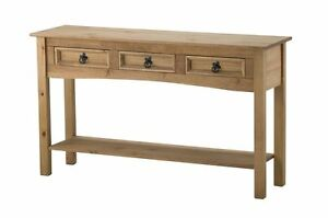 Corona-3-drawer-Console-Hall-Table-shelf-Mexican-Pine-Solid-Wood-Furniture-Waxed