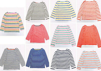 Age 2-16 RRP £20 Ex Mini Boden Breton Elbow Patch Long Sleeve Stripe T-Shirt