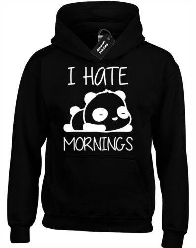 PANDA I HATE MORNINGS HOODY HOODIE FUNNY CUTE ZOELLA THATCHERJOE TUMBLR HIPSTER