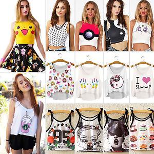 Womens-Pattern-Print-Vest-Tank-Crop-Tops-Blouse-Cute-T-Shirt-Loose-Fit-Cami-Tee