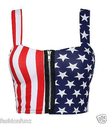 New Womens Ladies Crop Zip Front  American Flag Print Padded Bra Bralet Top 8-14