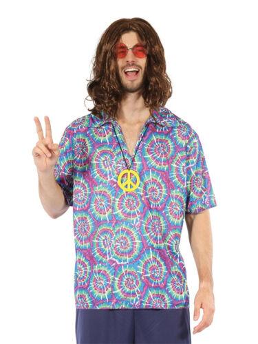 Mens Adult Flower Power 60s 70s 1960s Hippy Hippie Fancy Dress Shirt Necklace