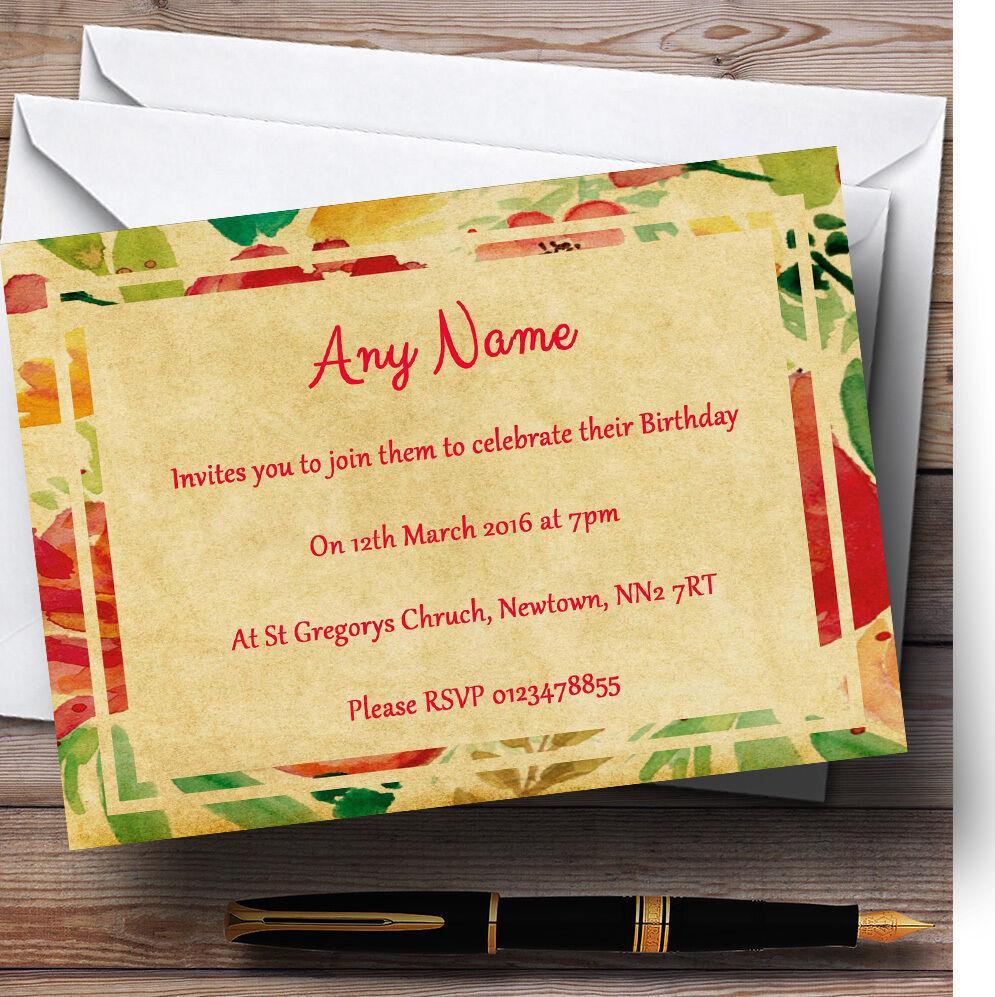 Rose Fleurs jaunes CARTE POSTALE Personnalisé invitations Fête D'Anniversaire invitations Personnalisé 2bf923