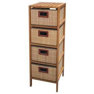 bambus standregal mit 4 k rben standregal badregal regal bambusregal korbregal ebay. Black Bedroom Furniture Sets. Home Design Ideas