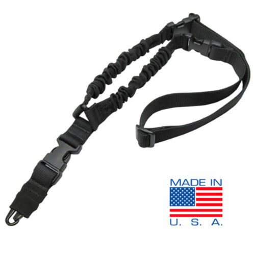 Black #US1001 CONDOR Cobra Double Bungee 1 Point Rifle Sling with HK Snap Hook