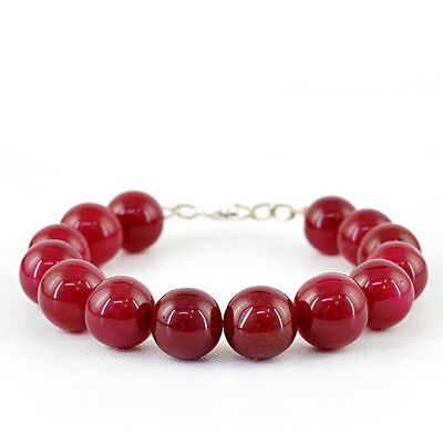 Fine Jewelry Orderly 343.50 Cts Earth Mined Round Shaped Rich Red Ruby Beads Bracelet Big Deal Mild And Mellow