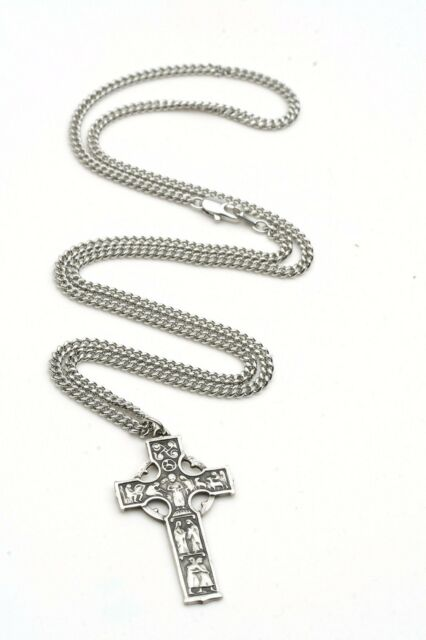 Sterling Silver Celtic Cross Pendant 1 5//8 x 7//8 inches with Heavy Curb Chain