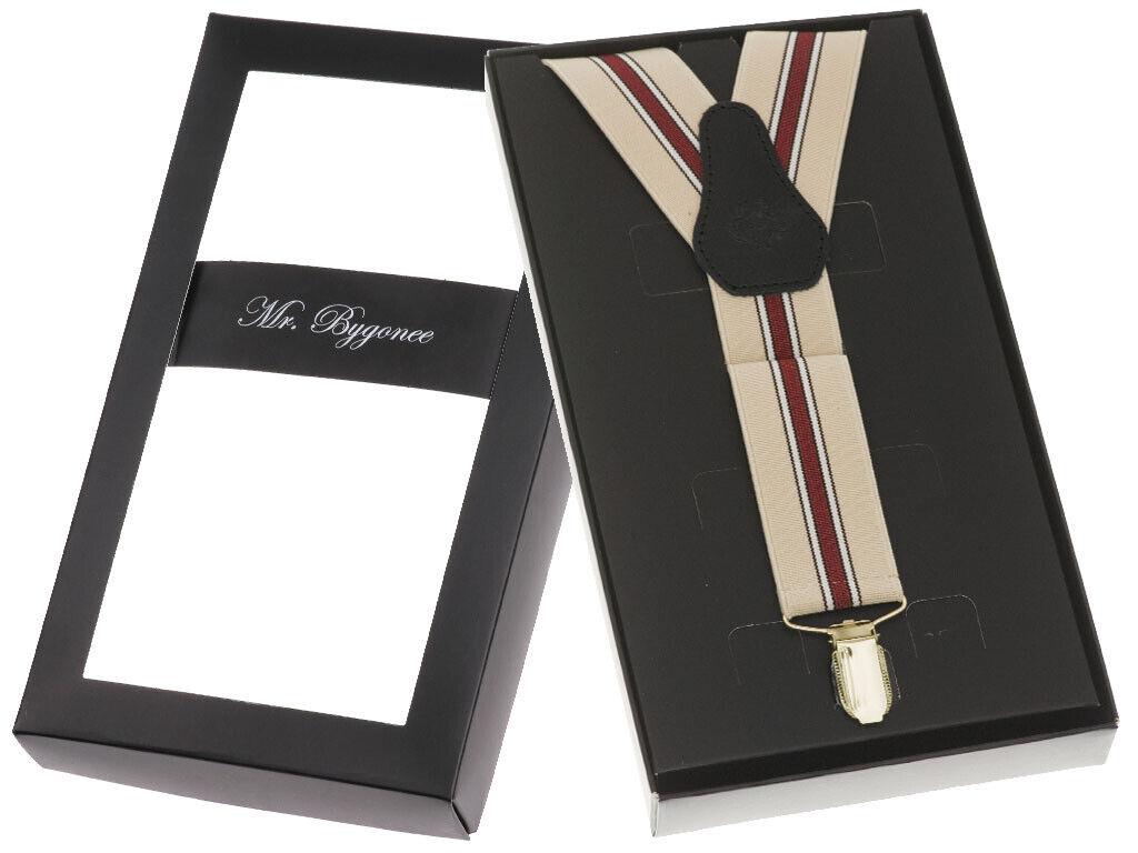 Elegant Herren Damen Hosenträger Mit 3 Goldfarbene Clips Y-Form 120cm Echt Leder