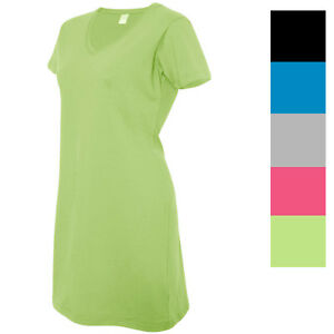 ab1e3ce013 Details about LAT Women's 100% Cotton Short Sleeve Solid V-Neck T-Shirt  Dress M-3522