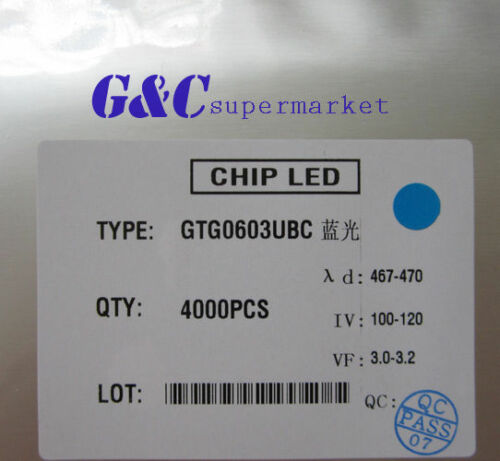 1000 pcs SMD SMT 0603 Super bright BLUE LED lamp Bulb