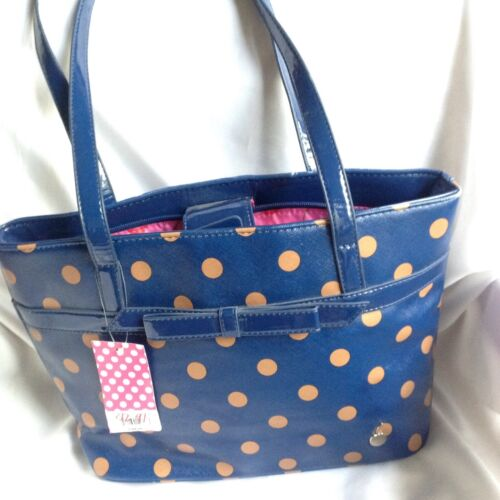 Zoe Sundae Large Royal And Camel Polka Dot Satchel Handbag Purse-New