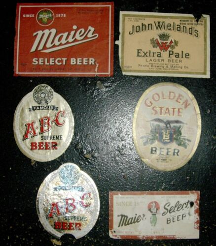 1930's & 40's Beer Labels Maier, ABC, Golden State, Wielands