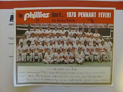 Vtg Philadelphia Phillies Bulletin 1976 Pennant Team Photo 10x13 MLB Baseball