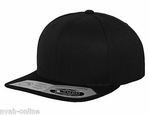 943c8c510b7eb NEW Flexfit 110 SNAPBACK  BLACK  BASEBALL CAP PLAIN FITTED ERA FLAT ...