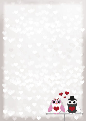 Motivpapier Briefpapier Eulen Brautpaar Hochzeit Eule owl Love 100 Blatt DIN A4