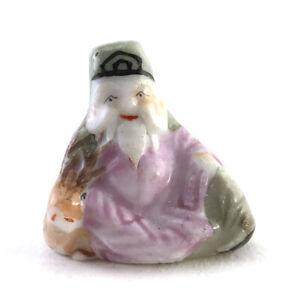 Antique-Vintage-Chinese-Miniature-Enameled-Porcelain-Immortal-amp-Deer-Figurine