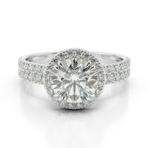 1.68 Ct Round Genuine Moissanite Engagement Ring 14K Solid White Gold Size 9.5