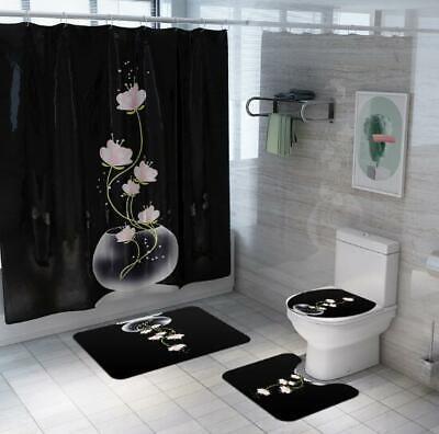 Flying Dragon Waterproof Bathroom Shower Curtain Toilet Cover Mat Non-Slip Rug