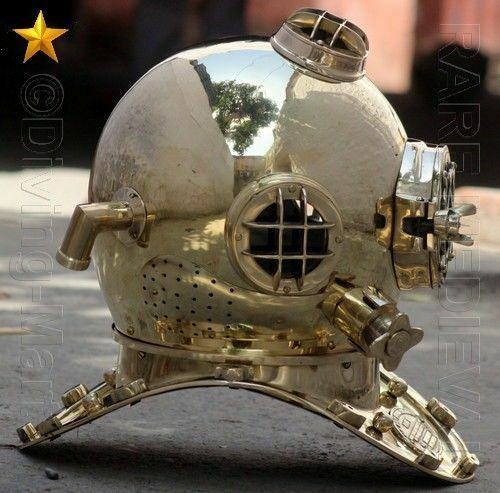 "VINTAGE U.S NAVY MARK V SOLID COPPER /& BRASS DIVING DIVERS HELMET 18/"" GIFT"