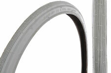 "PAIR GREY 22 x 1 3/8""(37-489 )550a VINTAGE BIKE TYRES WITH STRAIGHT LINE TREAD"