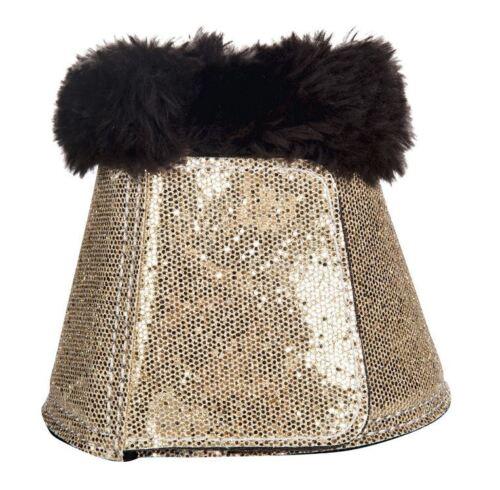 HKM Glitter /& Fur Shock Absorbing Overreach Boots Black Pink Gold Bronze * NEW