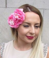 Double Ombre Pink Flower Hair Clip Rockabilly 1950s Vintage Fascinator Rose 2861
