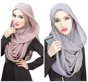 Women Islamic Chiffon Plain Soft Basic Solid Headscarf Shawl Scarf Hijab Shayla