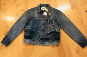 Women's Størrelse 2 Levis Trucker Jacket Jean Selvedge Patchwork Crafted Denim Made wEPqgZ