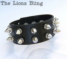 Gothic Punk Black Leather Wide Band Bracelet with 2 Rows of Silver Spikes