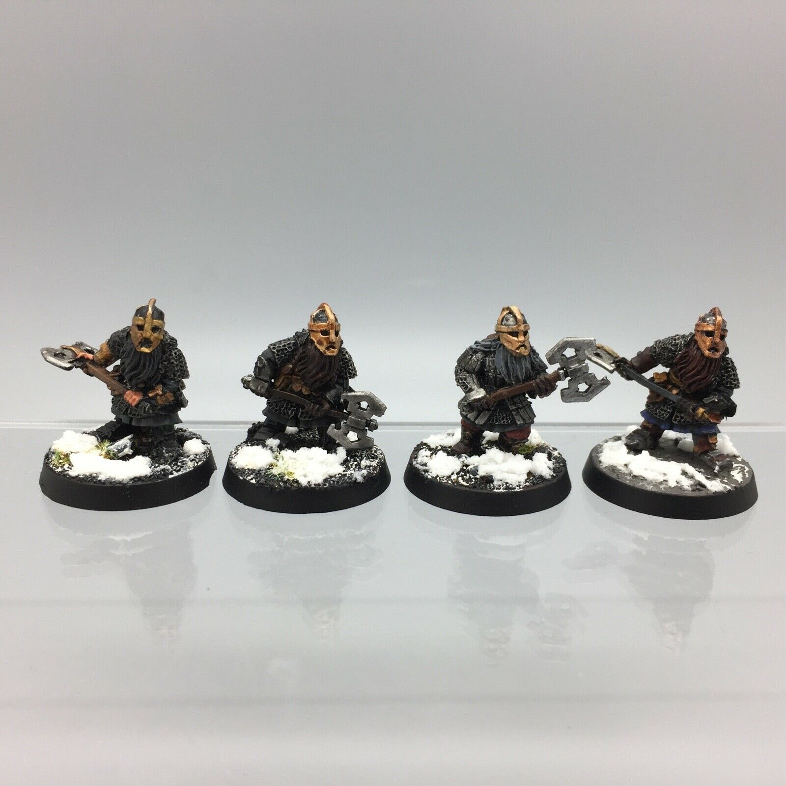 WARHAMMER LORD OF THE RINGS THE HOBBIT DWARF KHAZAD GUARD X 4 METAL PAINTED