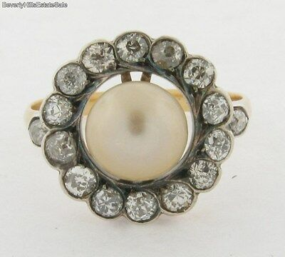 Antique Victorian Diamonds Natural Pearl 18k Yellow Gold Ring