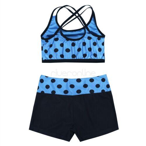 Kinder Mädchen Sports Set 2tlg Tankini Badeanzug mit Polka Dots Top mit Shorts