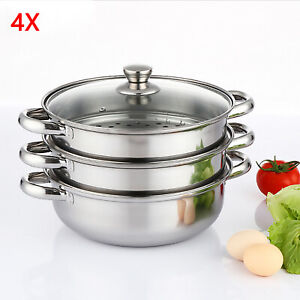 3TIER 28CM STAINLESS STEEL 4PC STEAMER COOKER POT SET PAN COOK FOOD GLASS LID